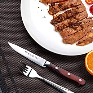 Steak knives, Emojoy Steak knife set, Pakkawood Handle Highly Resistant and Durable, German Stainless Steel Steak Knives Serrated (1 Set of 8-Piece ...