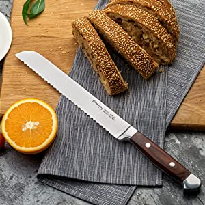 Emojoy Knife Set, 6 Piece Kitchen Knife Set with Block Wooden, Chef Knife Set, German Stainless Steel, Emojoy (Germen Steel). (6pcs knife set)