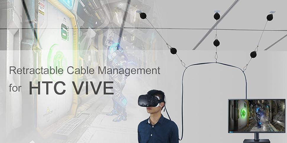 Sistema de Polea de Techo Retr/áctil para HTC Vive//HTC Vive Pro//Oculus Rift S//PS VR//Microsoft MR//Samsung Odyssey VR Accesorios Blanco, Paquete de 3 KIWI design Pro Version Gesti/ón de Cables VR