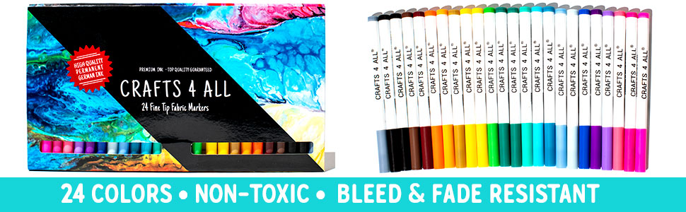 24 Colors Non-Toxic Bleed and Fade Resistant