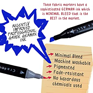 8eb7dd5ed6fc Amazon.com  Crafts 4 ALL Fabric Markers Pens Permanent 12 Pack Dual ...