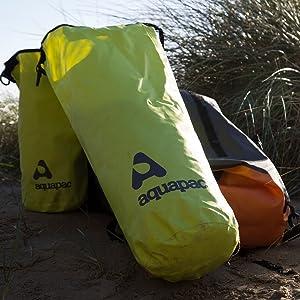 Aquapac drybags on the beach