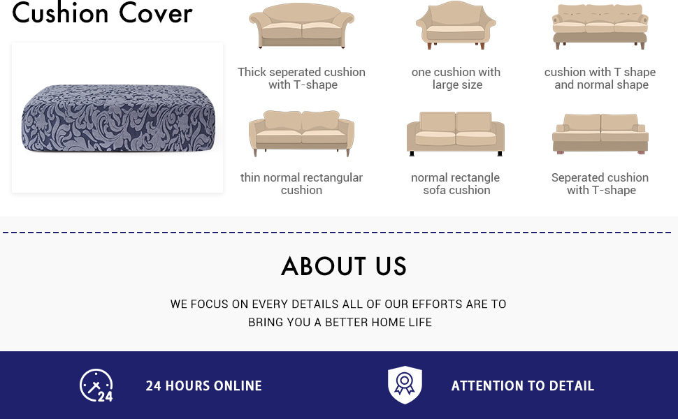 subrtex Spandex Elastic Damask Couch Cushion Covers Slip Cover for Settee High Stretch Chair Slipcover Furniture Protector for Sofa Seat Cushion ...