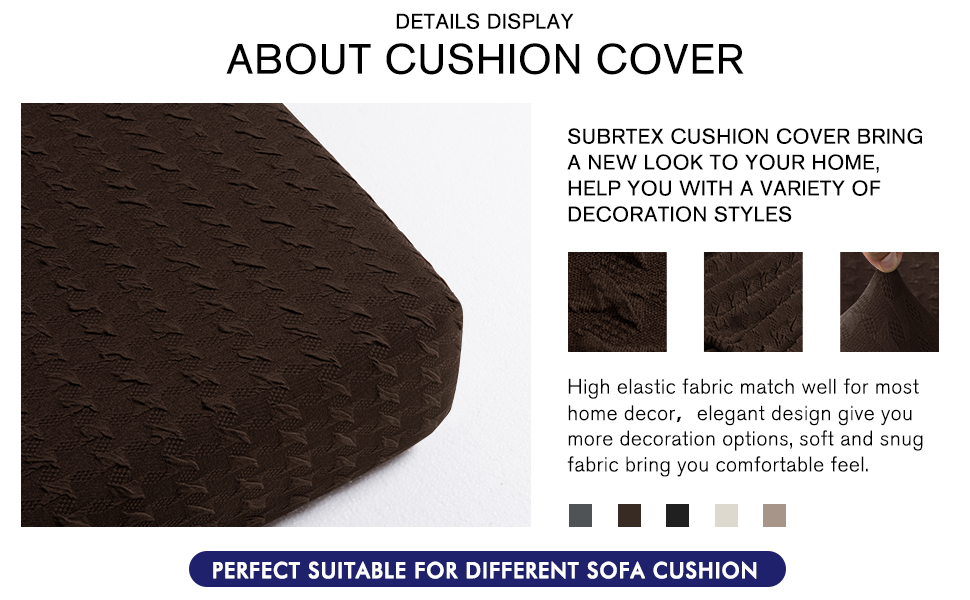 Subrtex Spandex Elastic Couch Cushion Covers Stretch Chair Slipcover Furniture Protector for Sofa Seat Cushion (Chair Cushion, Chocolate Embossed)