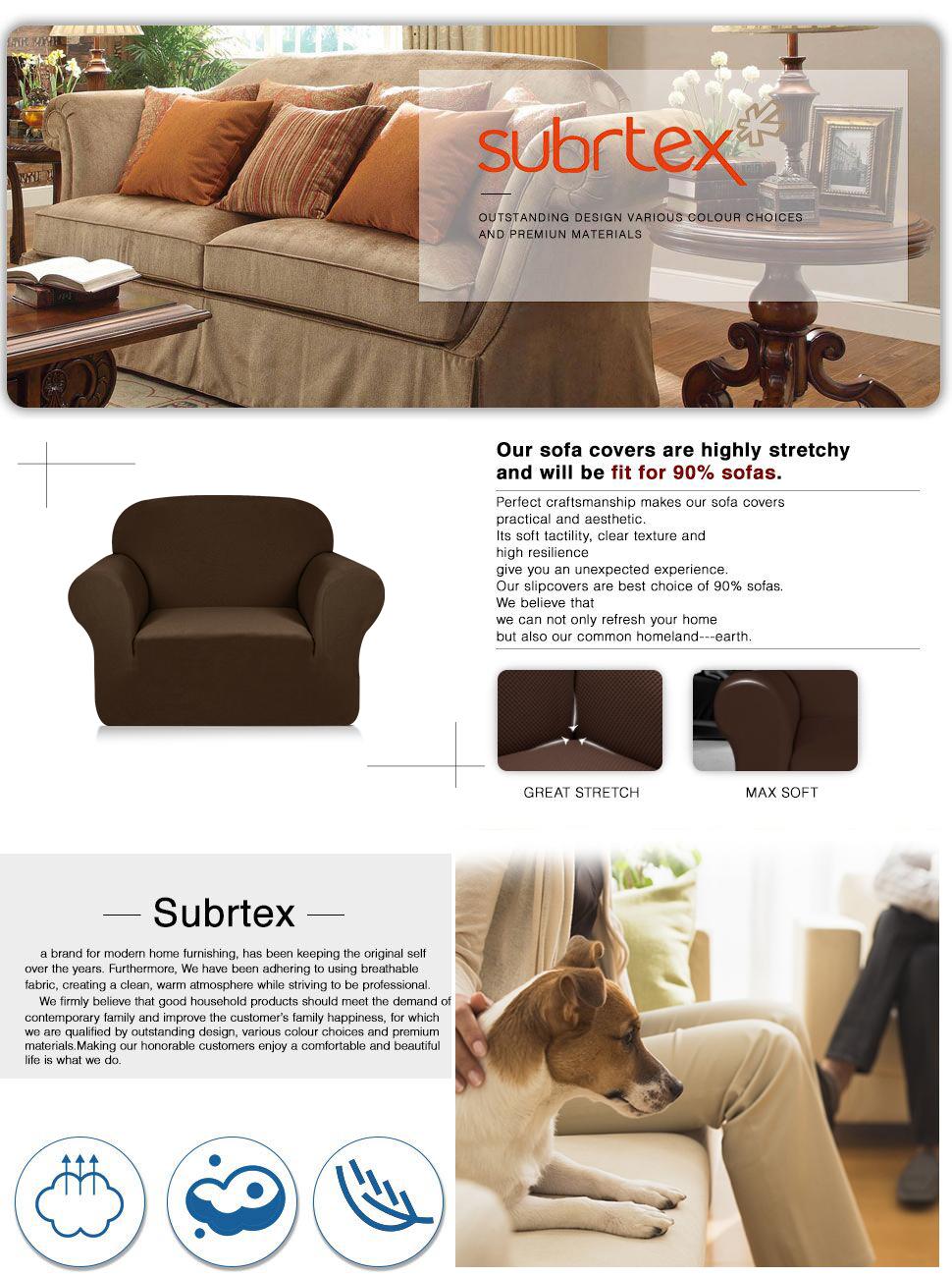 Subrtex 1-Piece Knit Jacquard Spandex Stretch Sofa Slipcovers (Chair, Coffee)
