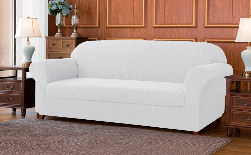 Subrtex 2-Piece Jacquard High Stretch Slipcover Furniture Protector for Settee Spandex Washable 3 Seater Cushion Couch Cover Coat (Sofa,Off-White)