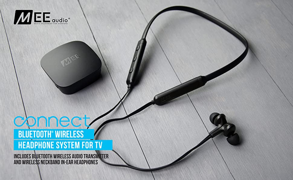 c2681dc0800 MEE audio Connect T1N1 Bluetooth Wireless Headphone System for TV - Includes  Bluetooth Wireless audio Transmitter and Wireless Neckband In-Ear Headphones