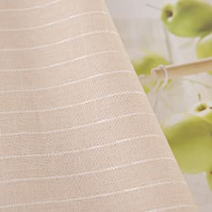 Striped Waterproof Square Tablecloth Beige for Family Dinners Parties Hotels and More
