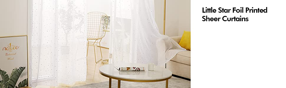 little star white sheer curtains for kids room