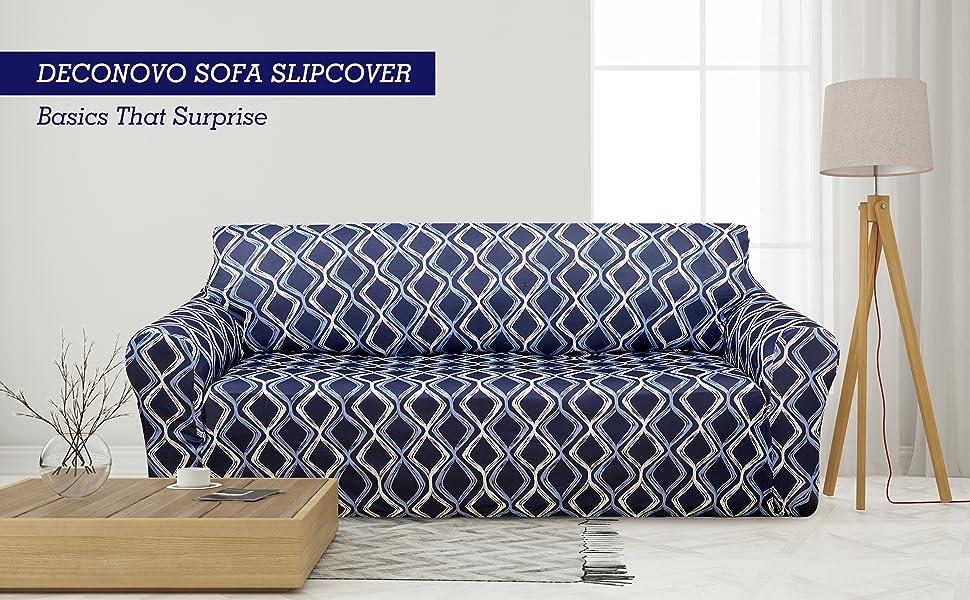 Deconovo Trellis Print Sofa Slipcover Spandex Stretch Strapless Couch Cover  for Sofa Navy Blue