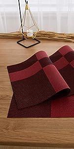 Deconovo PVC Placemats Woven Vinyl Washable Stain Resistant Non-Slip Dining Table Mats