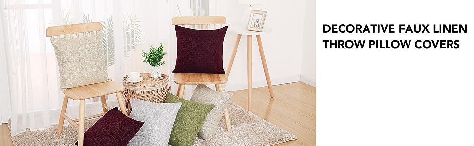 faux linen cushion covers