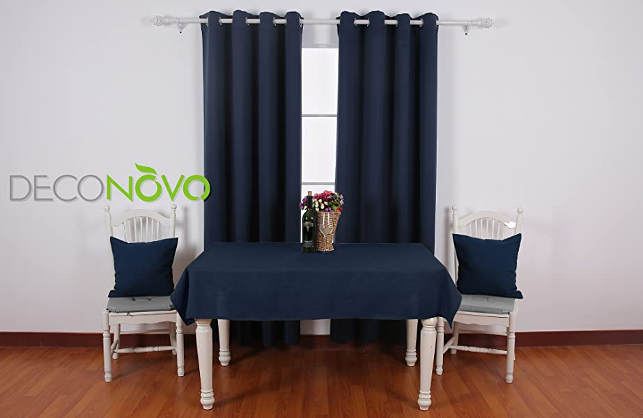 Deconovo Black Thermal Insulated Blackout Panel Curtain 52 By 63 Inch