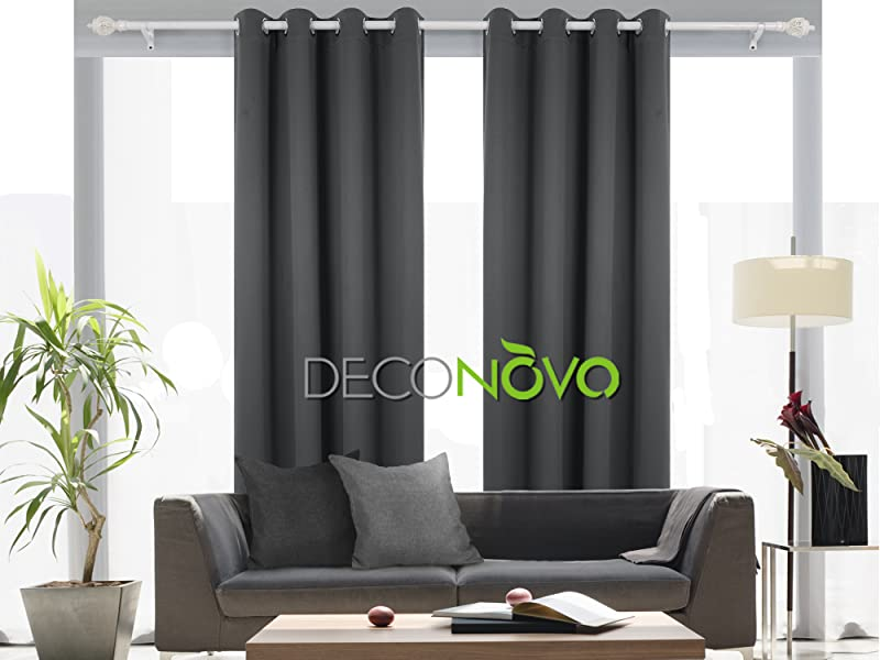 Amazon.com: Deconovo Thermal Insulated Blackout Curtain For Bedroom 52 By 84 Inch Dark Grey