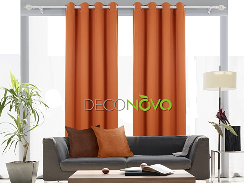 Orange Deconovo Room Darkening Thermal Insulated Blackout Grommet Window Curtain