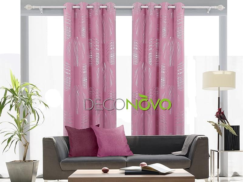 Amazon.com: Deconovo Shimmering Circle Pattern Silver Foil Curtain ...