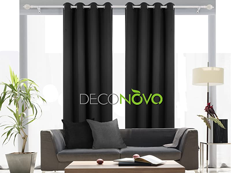 Deconovo Room Darkening Thermal Insulated Blackout Grommet Window Curtain Black