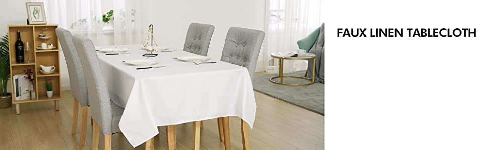 faux linen tablecloth
