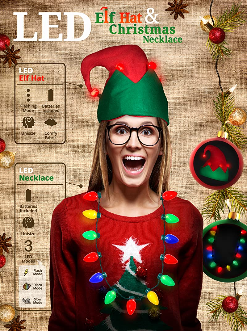 16b69454a51ca Ugly Sweater Party Kit - LED Elf Hat + 13 Bulb LED Christmas Necklace with  3 Flashing Modes