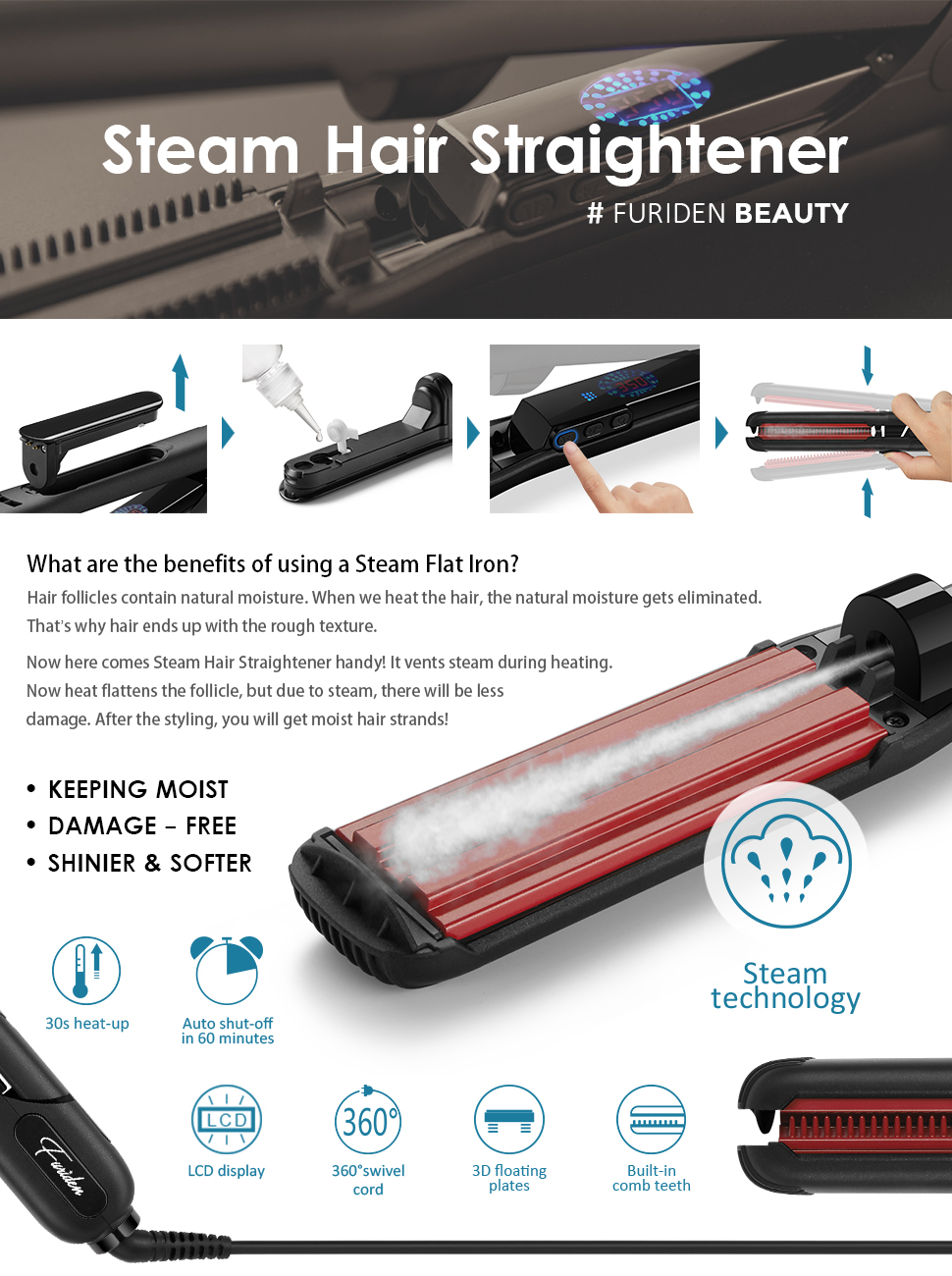 Amazon Com Steam Hair Straightener Black Hair