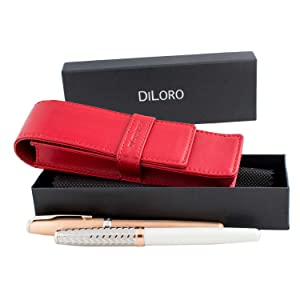 DiLoro Double Pen Case Pouch Holder for Two Pens or Pencils Genuine Full Grain Nappa Leather (Red Nappa)