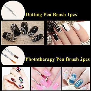 JOYJULY Nail Art Kit contains 30 Striping tape & 4Pcs Striping Roller Box & 12 Colors Rhinestones & 5pcs Dotting Pen & 15pcs Brush Set 19