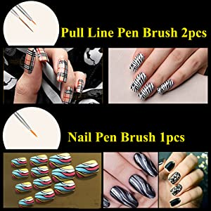 JOYJULY Nail Art Kit contains 30 Striping tape & 4Pcs Striping Roller Box & 12 Colors Rhinestones & 5pcs Dotting Pen & 15pcs Brush Set 17