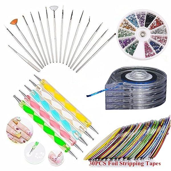 Amazon.com : JOYJULY Nail Art Kit includes 30 Striping tape & 4Pcs ...