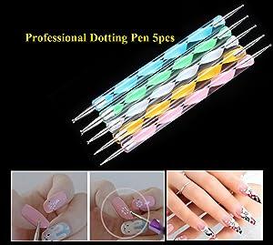 JOYJULY Nail Art Kit contains 30 Striping tape & 4Pcs Striping Roller Box & 12 Colors Rhinestones & 5pcs Dotting Pen & 15pcs Brush Set 15