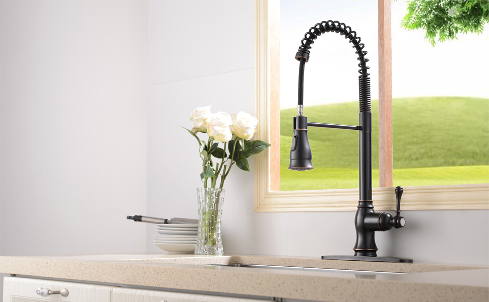 Details About Spring Single Handle Kitchen Faucet Pull Down Spray Oil Rubbed Bronze Base Cover
