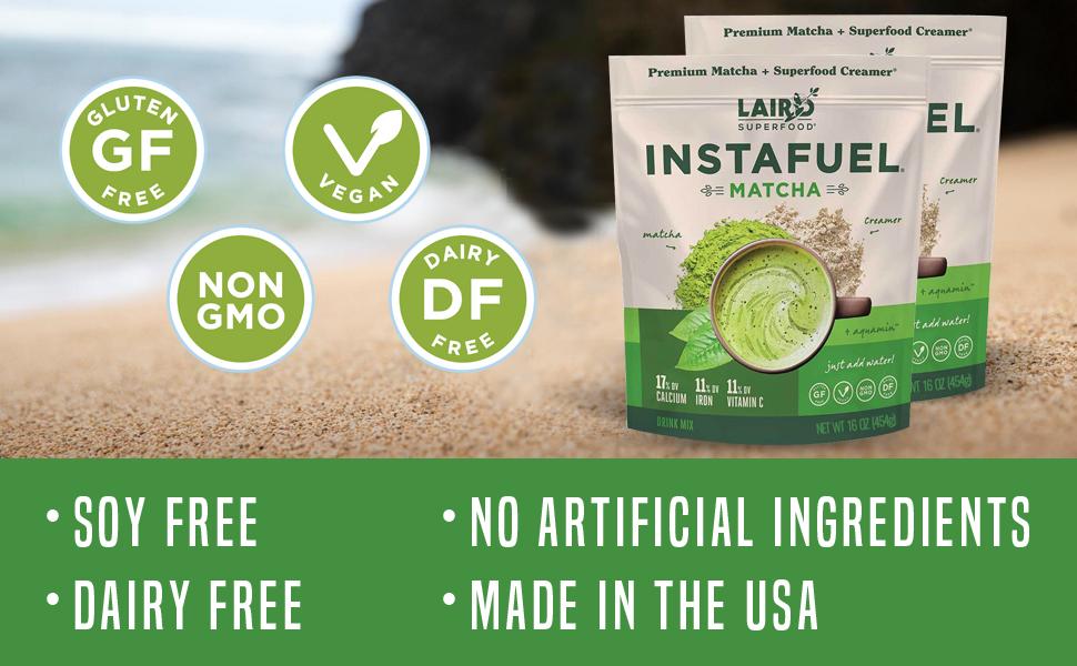 Laird Superfood Matcha Instafuel Vegan Dairy Free Gluten Free Non-GMO Soy Free Paleo Diet