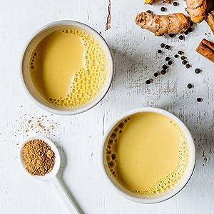 Golden Milk - hot water amp; Laird Turmeric Superfood Creamer