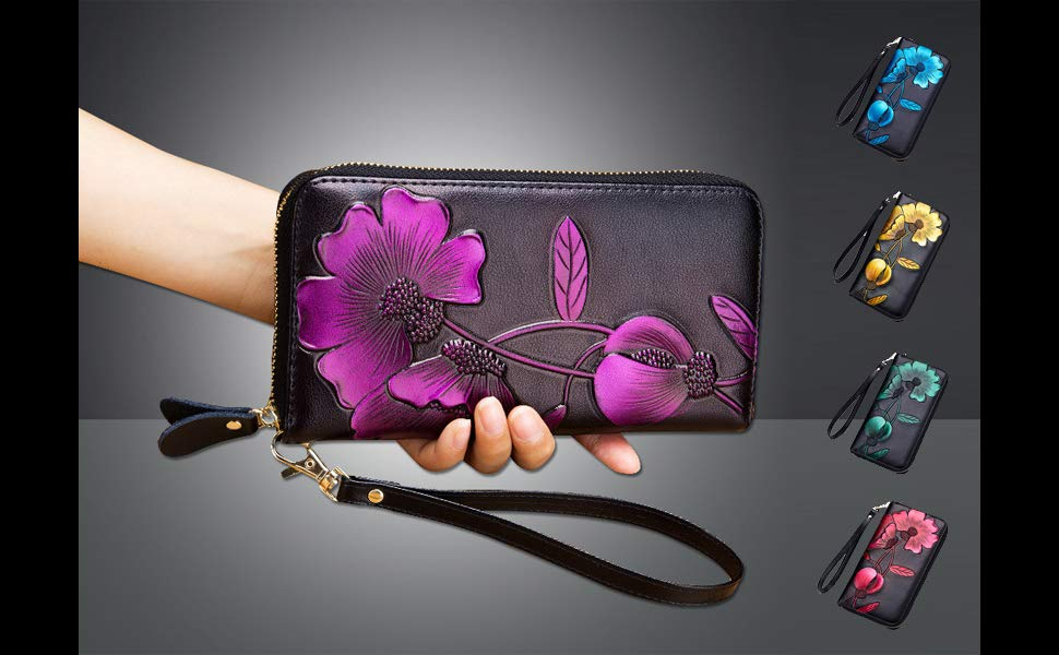 Artisan Leather Wallet with Hand-painted Carnation Floral Details