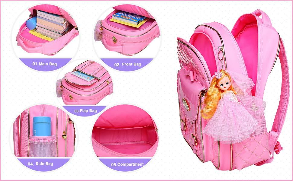 Amazon.com | Bookbag for Girls, Waterproof PU Leather Kids