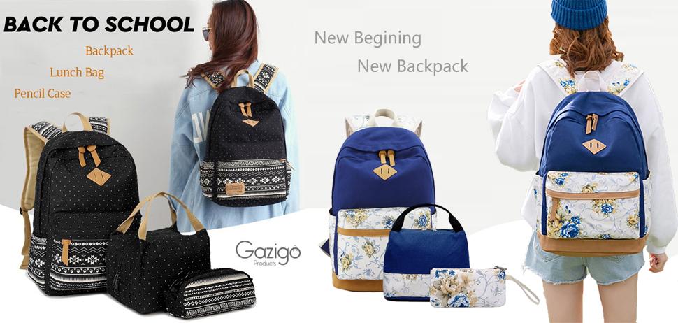Amazon.com  Gazigo Geometry Girls Canvas College Laptop Backpack + ... 016e431e6cce4