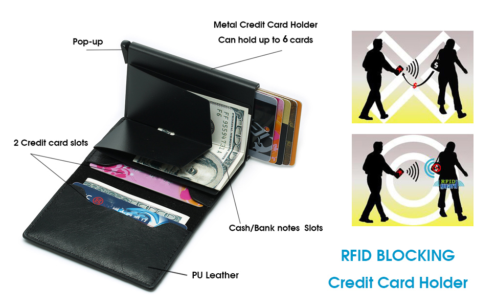 RFID Blocking Automatic Pop-Up Pu Leather Aluminum Metal Wallet Credit Card Case Holder Money Clip