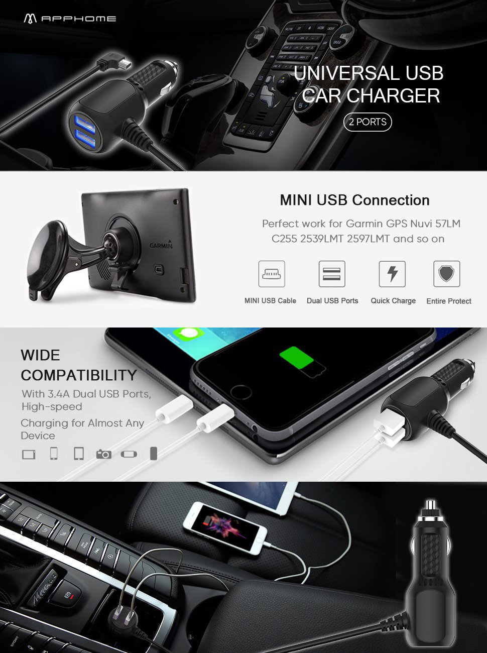 Car Charger Compatible for Garmin Nuvi, APPHOME 6.6ft Mini USB Charing on