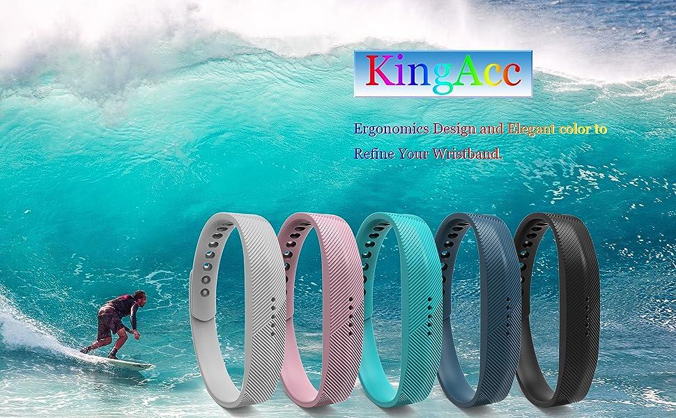 Fitbit Flex 2 Bands, KingAcc: Ergonomics Design and Elegant color to Refine Your Wristband
