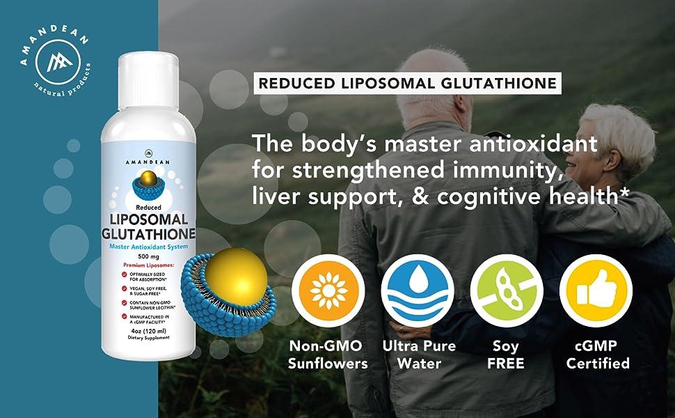 Liposomal Glutathione, Reduced L Glutathione, Master Antioxidant, Liver Detox, Immune Support,