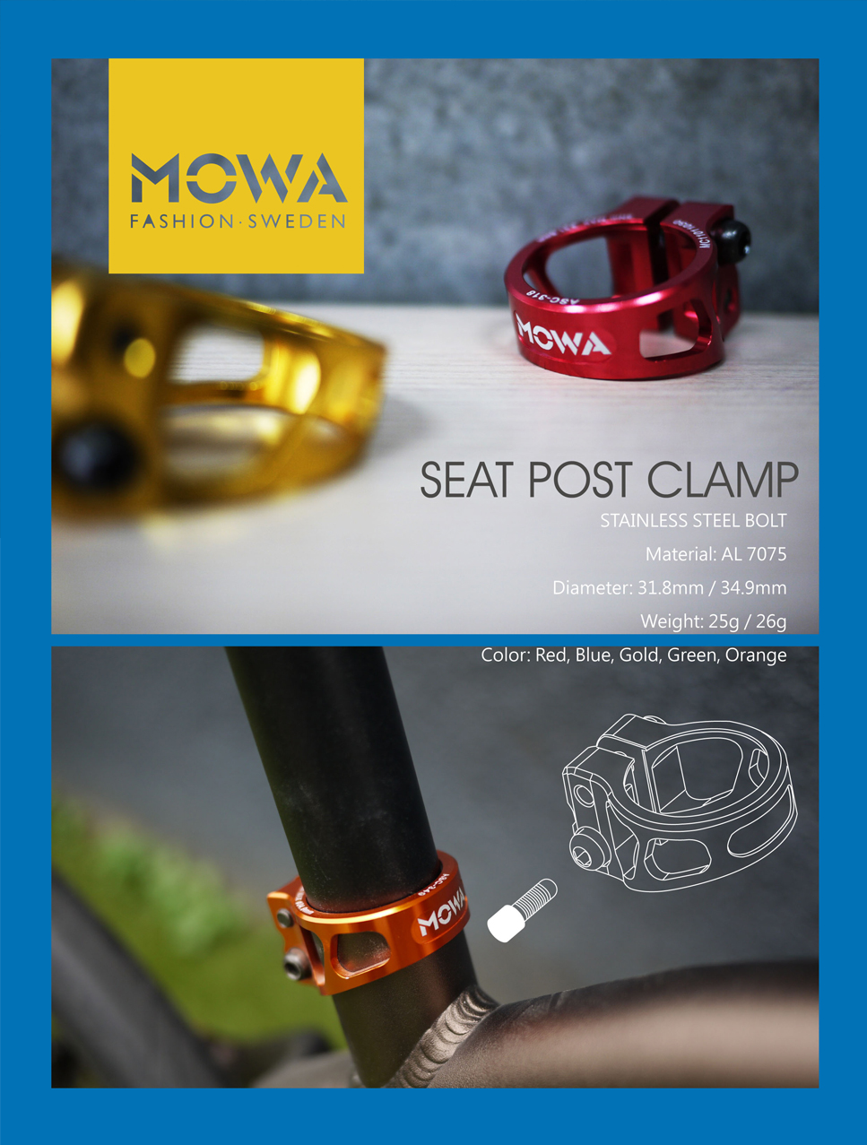 MOWA ASC Road Cyclocross Mountain MTB Bicycle Bike Seatpost Clamp 31.8mm Gold
