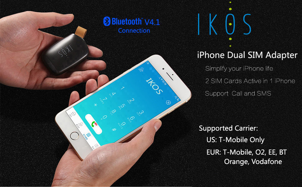 IKOS Dual SIM Adapter For IOS System Device Enabling 2 Cards To Be Active Simultaneously