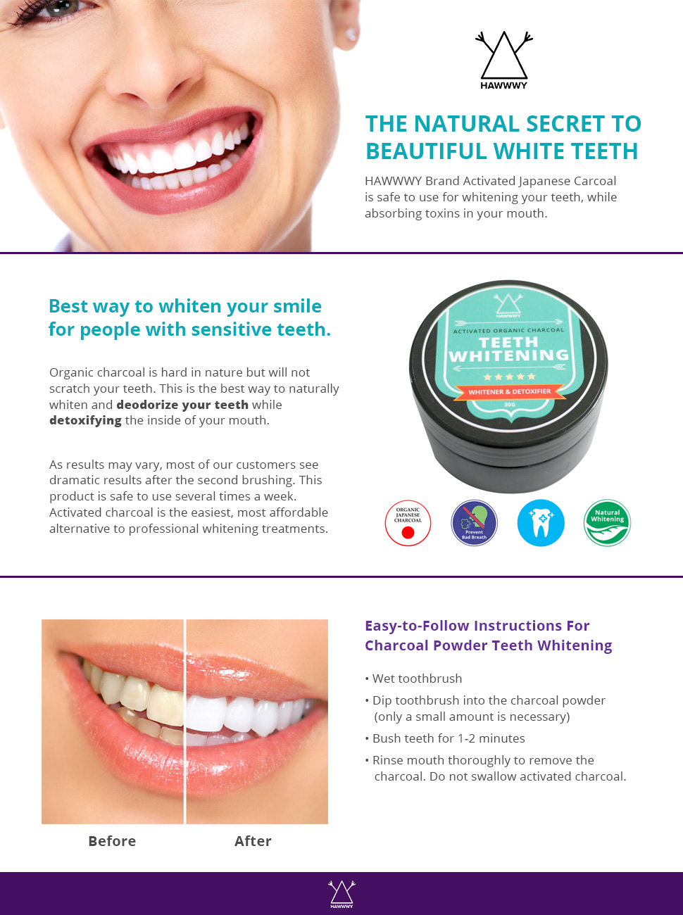 Amazon Com Charcoal Teeth Whitening Powder Activated Japanese