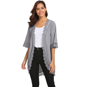 90a20484e4 Tobrief Womens 3 4 Ruffle Bell Sleeve Lace Kimono Cardigan Cover Up ...
