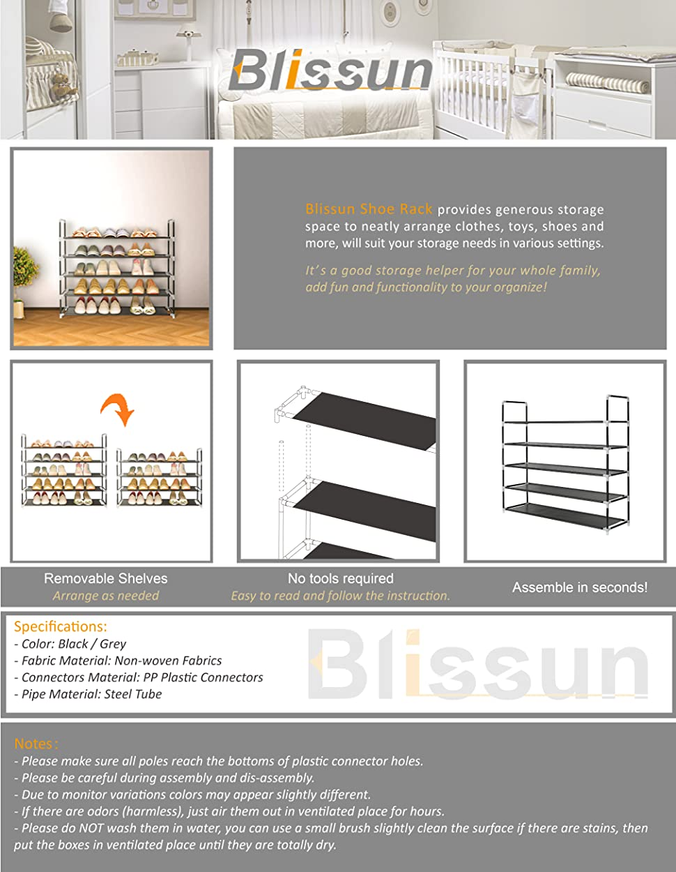 Amazon blissun shoe racks 5 tier space saving nonwoven fabric product description stopboris Gallery