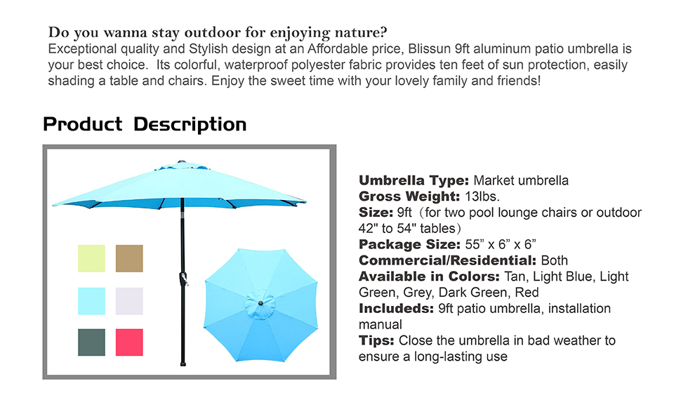 Blissun 9u0027 Outdoor Market Patio Umbrella With Auto Tilt And Crank, 8 Ribs