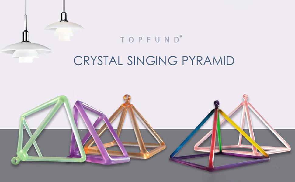 TOPFUND Quartz Crystal Singing Pyramid Purple Color 4 inch with Quartz  Suede Striker