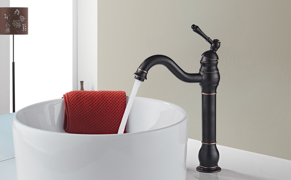 MYHB 360° Swivel Oil Rubbed Bronze Bathroom Vessel Sink Faucet with ...