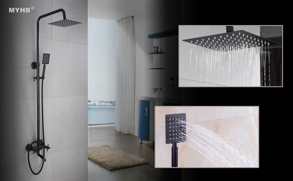 MYHB HY0819H Bathroom Shower Faucet Set System with 8\'\' Rainfall ...