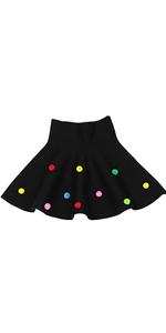 Little Big Girls' High Waist Knitted Flared Pleated Skater Skirt