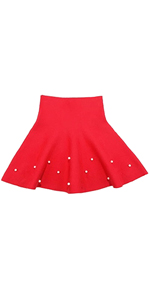 Girls High Waist Knitted Flared Pleated Skater Skirt Casual Mini Skirt